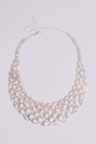 Graduated Pearl and Woven Crystal Collar Necklace