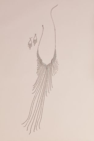 Crystal Fringe Necklace and Pendant Earrings Set