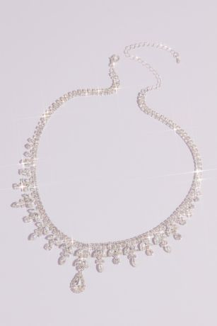 Leafy Teardrop Crystal Statement Necklace