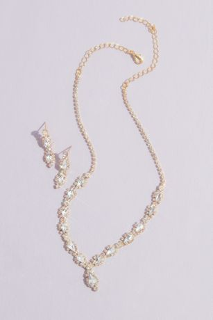 Crystal Pear Drop Quinceanera Jewelry Set
