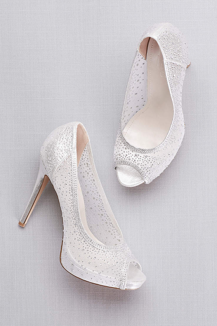 f9447e380 David's Bridal Grey Pumps (Sheer Mesh Peep-Toe Platform Heels with Crystals)