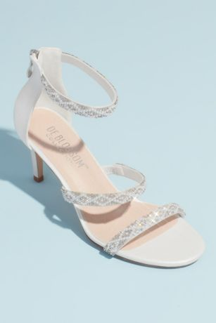 Blossom White Heeled Sandals (Triple Beaded Strap Heeled Sandals)