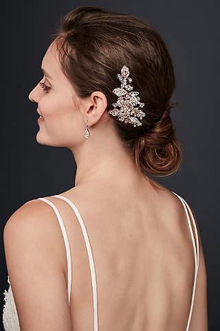 Sparkling Gorgeous Rose Gold Wedding Hair Clip Stunning Crystal Bridal Headpiece