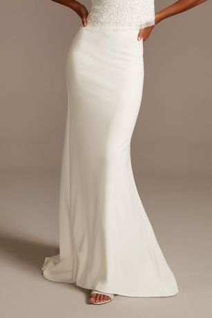 Stretch Crepe Sweep Train Wedding Separates Skirt