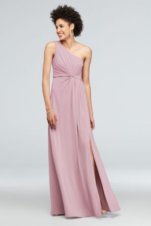 One-Shoulder Jersey Dress with Knot Waist