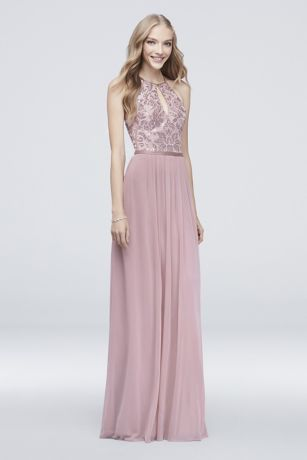 High-Neck Sequin and Mesh Gown with Keyhole