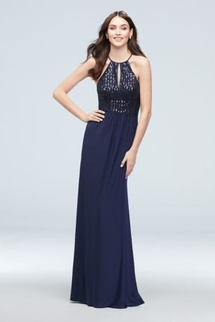 Sequin Keyhole High-Neck Jersey Dress