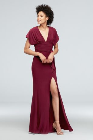 Jersey Flutter Sleeve Dress with Ruched Waistline