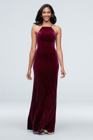 High Square Neck Velvet Long Dress
