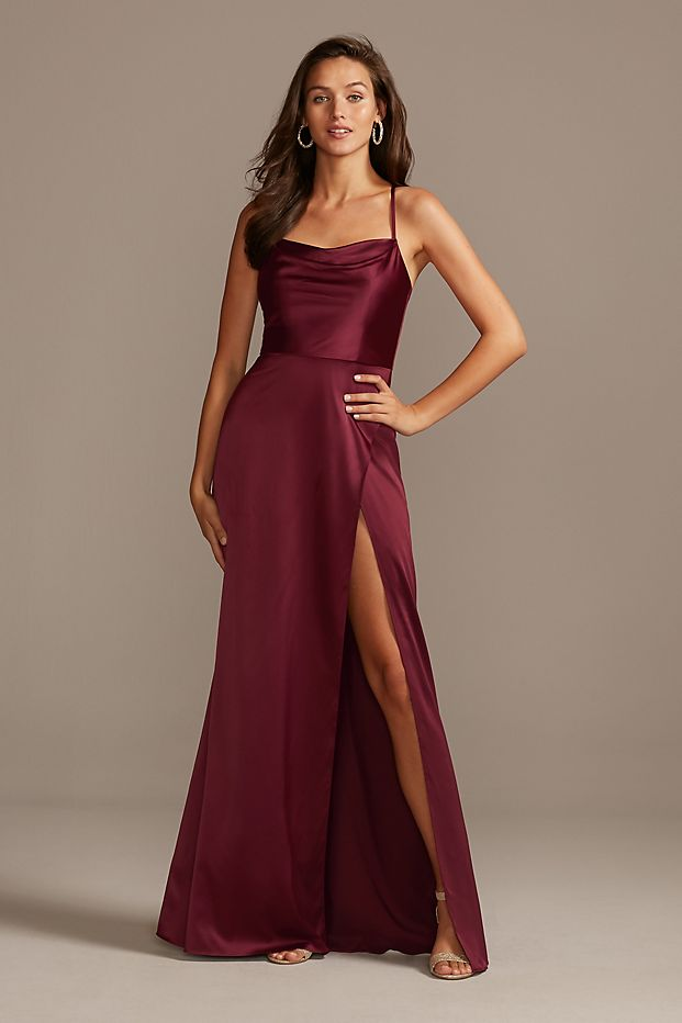 Shiny Charmeuse Cowl Neck Slip Dress with Slit