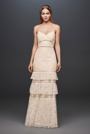 Tiered Lace Sheath Gown with Openwork Insets