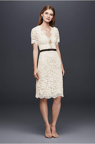 Illusion Lace Shift Dress with Contrast Ribbon