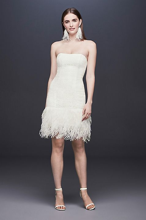 Strapless Lace Wedding Dress With Ostrich Feathers Davids Bridal