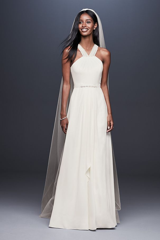 Illusion Crepe Gown with Cascading Skirt DS870049