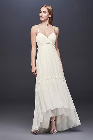 Shop discount wedding dresses wedding dress sale davids bridal short beaded strap wedding dress with high low hem mightylinksfo