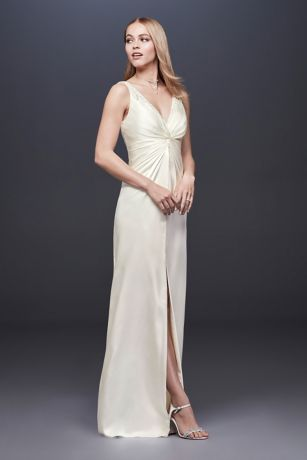 Ruched and Beaded Charmeuse Sheath Wedding Dress