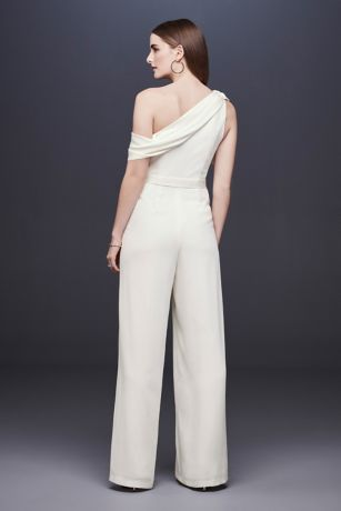 28a54a1367a3e Shoptagr | One Shoulder Crepe Wedding Jumpsuit With Bow by Db Studio