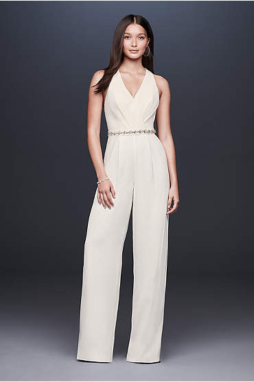 Racerback Crepe Jumpsuit with Crystal Belt