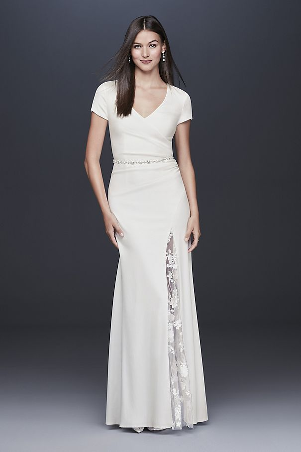 Crepe Sheath Gown with Embroidered Illusion Slit DS870092