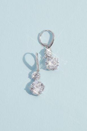Rhodium and Cubic Zirconia Double Drop Earrings