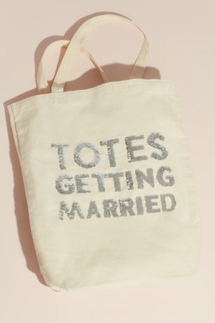 Totes Getting Married Sequin Text Canvas Tote