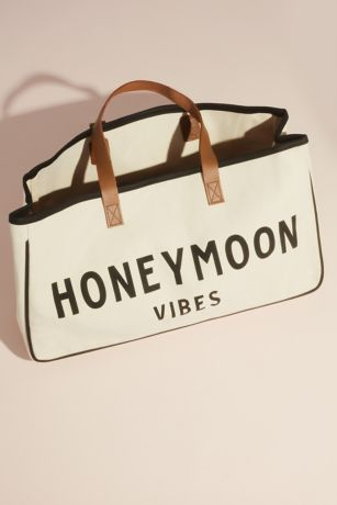 Honeymoon Vibes Canvas Open-Top Duffle Bag