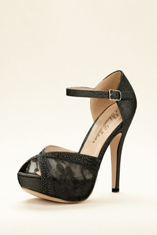 Beige;Black;Grey;White Heeled Sandals (Embellished Lace Platform Sandal)