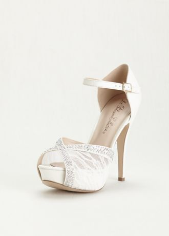 Blossom White Heeled Sandals (Lace and Rhinestone Platform Sandal)