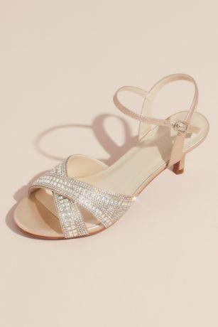 David's Bridal Ivory Heeled Sandals (Crisscross Crystal Ankle Strap Heeled Sandals)