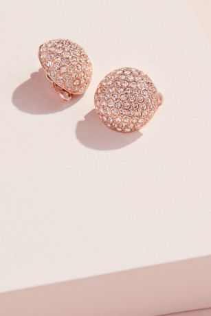 Swarovski Pave Crystal Clip-On Button Earrings