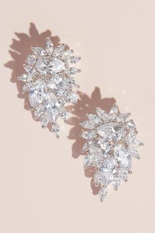 Clip-On Cubic Zirconia Crystal Cluster Earrings