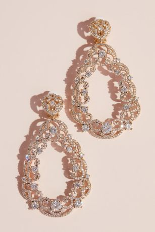 Filigree Crystal Teardrop Earrings David S Bridal