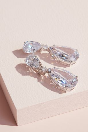 Cubic Zirconia Teardrop Dangle Clip-On Earrings
