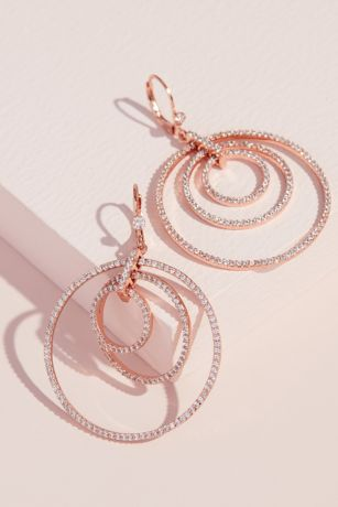 Dangling Concentric Pave Hoop Earrings