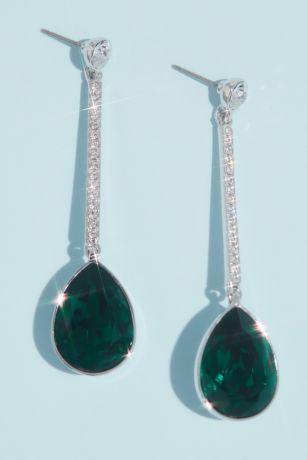Swarovski Crystal Pear Bar Drop Earrings