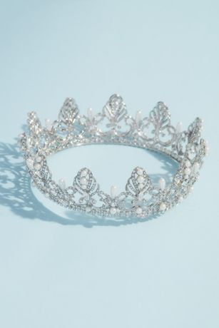 Pearl and Crystal Filigree Quinceanera Crown
