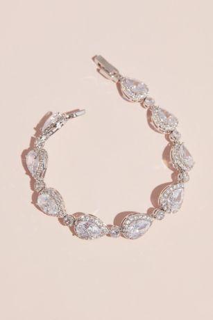 Pave Outlined Teardrop Crystal Bracelet