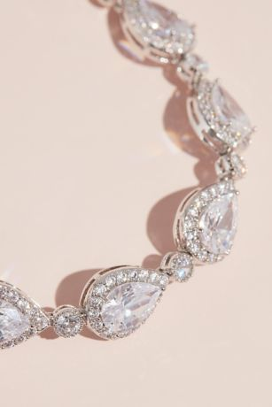 Pave Outlined Teardrop Crystal Bracelet