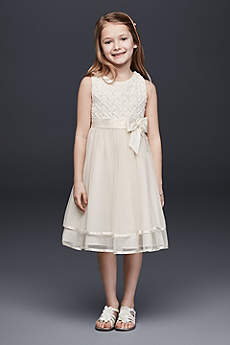 Lattice Bodice Dress with Tiered Tulle Skirt