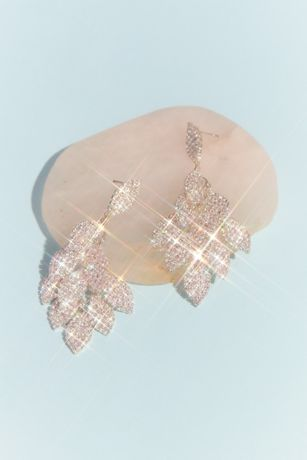 Layered Crystal Leaf Earrings