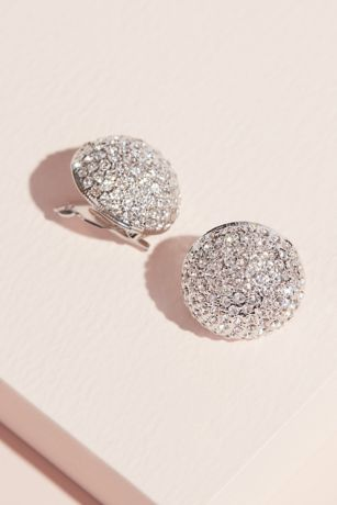 Pave Swarovksi Crystal Button Clip-On Earrings