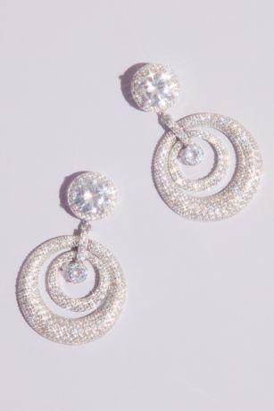 Domed Swarovski Crystal Pave Hoop Post Earrings