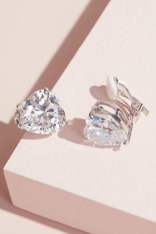 Heart-Cut Cubic Zirconia Clip-On Earrings