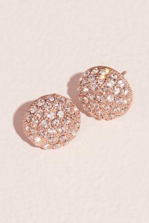 Pave Swarovski Crystal Button Stud Earrings