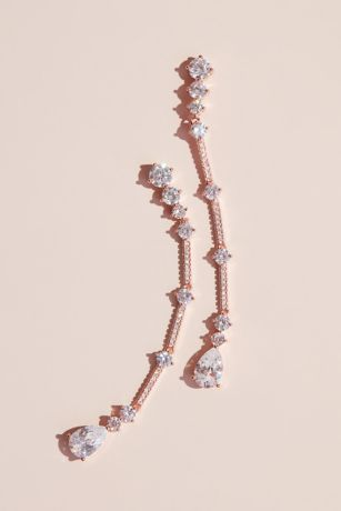 Dangling Cubic Zirconia Bar and Pear Earrings