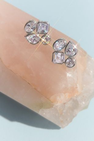 Cubic Zirconia Quad Cluster Stud Earrings