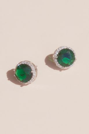 Gemstone and Pave Halo Stud Earrings