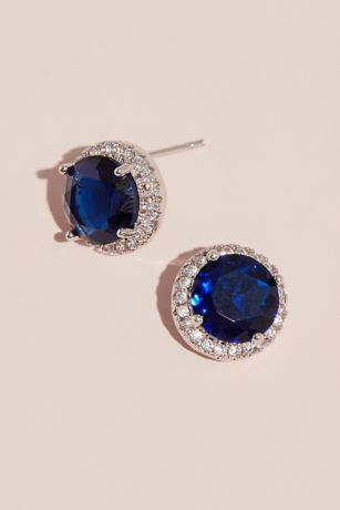 Pave Halo and Gemstone Stud Earrings