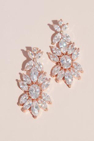 Blooming Marquise-Cut Crystal Drop Floral Earrings