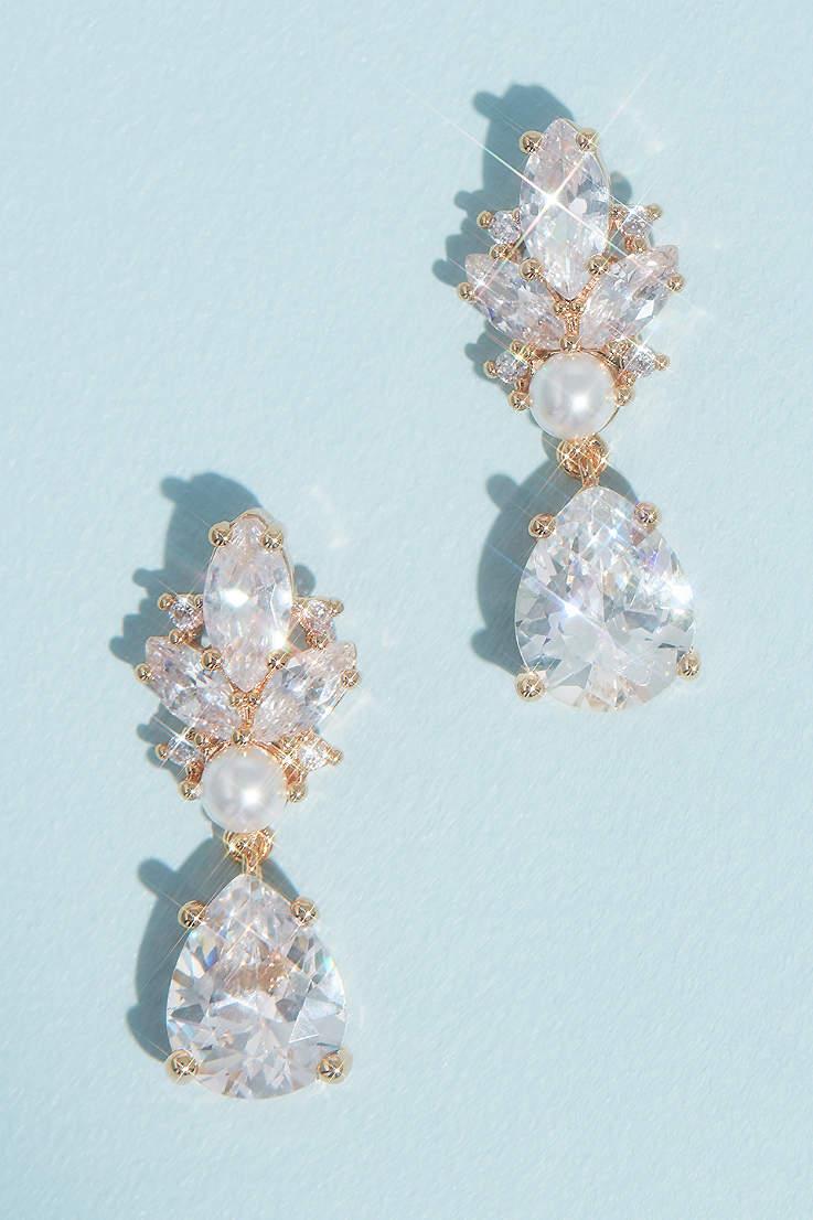 Gold drop earrings Wedding accessories Dangle Gold earrings Flower gold earrings Bridesmaid earrings Rose pearl earrings Stacked